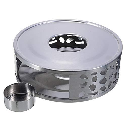 Szaerfa Calentador de tetera de acero inoxidable con soporte para te y cafe Diseno de marco hueco