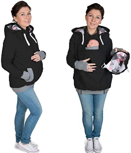Designs 3 en 1 Maternité Sweats à Capuche Polaire, Kangourou Porte-bébé Porteur Femme Zipper Pull Molletonné Blouson,Black-XL