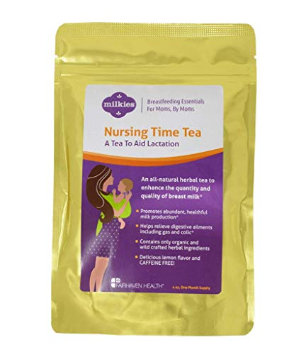 Milkies Nursing Time Lactation Tea with Fennel, Goat's Rue, & Blessed Thistle to Increase Breast Milk Supply, Fenugreek-Free, 60 Servings