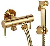 Doble uso baño grifo bidé inodoro bidé ducha Set portátil bidé spray ABS oro ducha titular y 1.5 M manguera de mano color