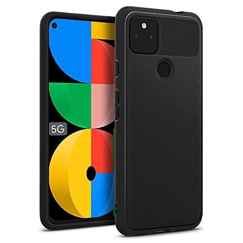 Caseology Google Pixel 5a 5G ケース ストラップホール TPU カバー サンドストーン 指紋防止 ヴォールト - マットブラック