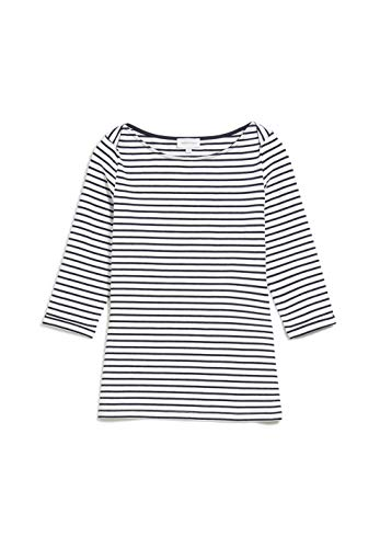 ARMEDANGELS DALENAA Stripes - Damen Longsleeve aus Bio-Baumwoll Mix L Off White-Night Sky Shirts Longsleeve U-Boot Fitted
