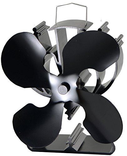 4-Blade Heat Powered Stove Fan for Wood / Log Burner/Fireplace increases 80% more warm air than 2 blade fan