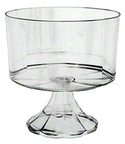 Clear Plastic Elegant Pedestal Trifle Bowl 120 Oz