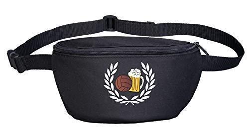 Lorbeerkranz Fussball Bier Bauchtasche Bestickt Schwarz