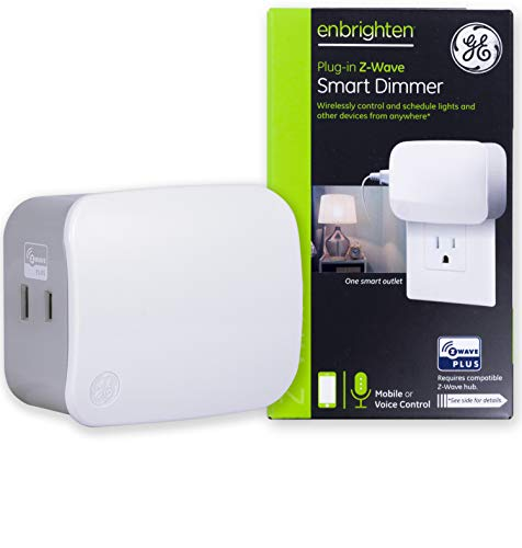 GE 28167 Enbrighten Z-Wave Plus Smart Dimmer 1-Outlet Plug-In, Works with Alexa, Google Assistant, Repeater/Range Extender, for Lamps & Small Appliances Hub Required, White