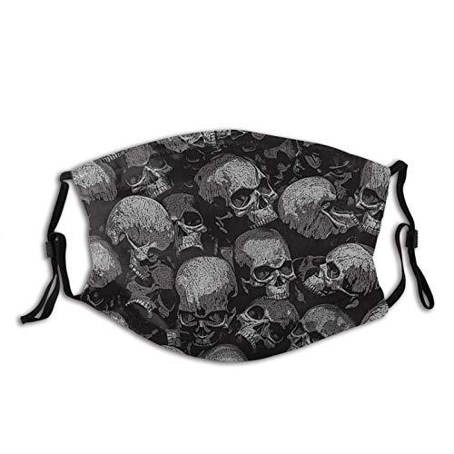 Pasamontañas con máscara facial de calavera y rosas, filtro de polvo, transpirable, lavable, unisex, con 2 filtros de color negro