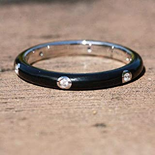 Skinny Black Cloisonné Enamel Band Sterling Silver 925 Cubic Zirconias, Wedding Ring, Stacking, His Hers Bands, Gift For Her