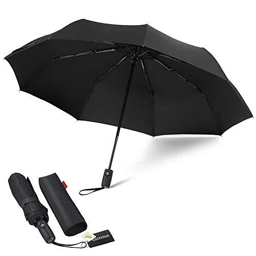 Paraguas Automático de Viaje Plegable 9 Nervaduras Resistente al Viento Impermeable Protección...