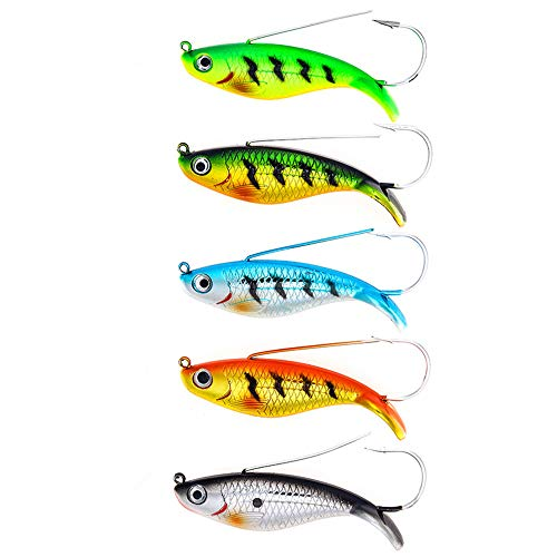 """DOITPE Fishing Lures Weedless Minnow Spoon Rattling Hard Baits with BKK Hooks in Saltwater and Freshwater in Saltwater and Freshwater for Bass Trout Walleye Pike Musky (Combo A(5pcs,3.4""""/0.75oz))"""