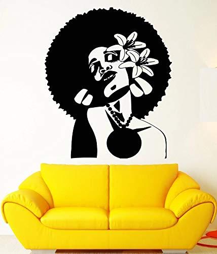 jtxqe Wand Afrikanische Frau Frisur Blume Im Haar Schwarze Dame Innen/Anime Wandaufkleber Selbstklebende Tapete Dekor Wandsofa Hauptdekoration 42X50Cm