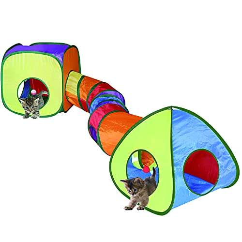 Cat Tunnel Toy and Cubes Combo, Cat Tunnels for Indoor Cats with Play Ball, Interactive Crinkle Collapsible Tent and Cubes, Cat Tube for Puppy Pet Rabbit - All in One Set of 3