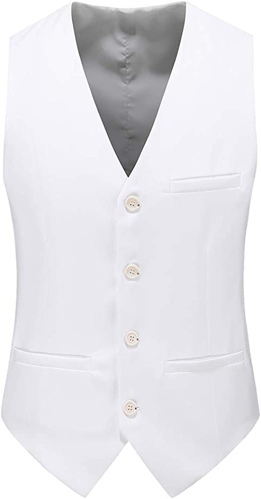 UNINUKOO Mens Slim Fit Four Button Tuxedo Waistcoat