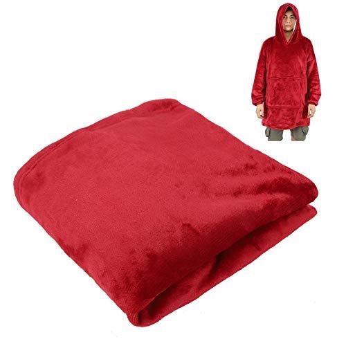 gjm Ropa Caliente De Gran Tamaño con Capucha con Capucha Fleece Flannel Sudadera con Capucha con Bolsillo Tamaño Libre Rojo