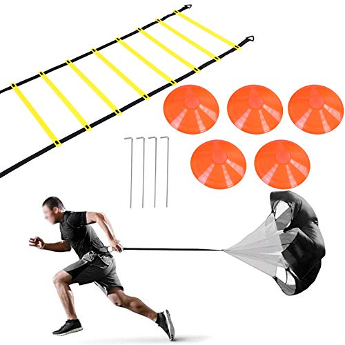Rehomy Conjunto de Entrenamiento de Velocidad y Agilidad, Incluye 1 paracaídas de Resistencia y Escalera de Agilidad de 6m, 4 estacas de Acero, 5 Conos de Disco Ayuda para Entrenamiento de fútbol