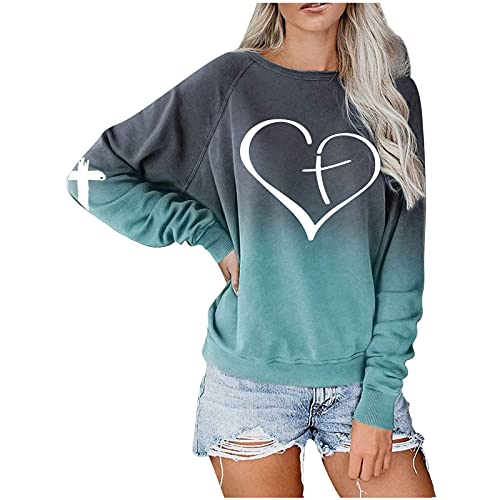 JPLZi Women Long Sleeve Sweatshirt Colorblock Tie Dye Printed Pullover Shirts Blouse Round Neck Tunic Tops Fitted Casual Tees(02#Green,Large)