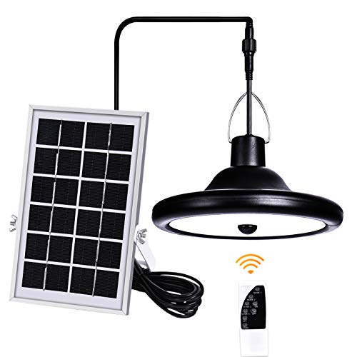 LED Solar Pendant Light Motion Sensor,HUOKU Solar Lights Outdoor Indoor with Remote Control 16.4ft Cord,Dimmable Solar Shed Light with IP65 Waterproof for Shed Yard Barn Garage,Warm White 3000K