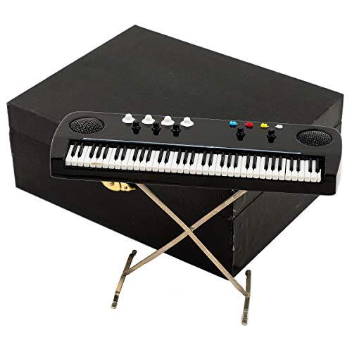 Seawoo Miniature Electronic Organ with Case Mini Musical Instrument Mini Electronic Keyboard Miniature Dollhouse Model Electone Christmas Ornament (5.51'x1.79'x3.72')