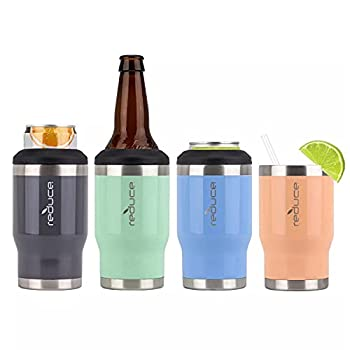 Reduce 4-in-1 Drink Cooler 4 Pack  Assorted Colors  | Keeps Drinks Cold up to 4 Hours | Cup Holder Friendly