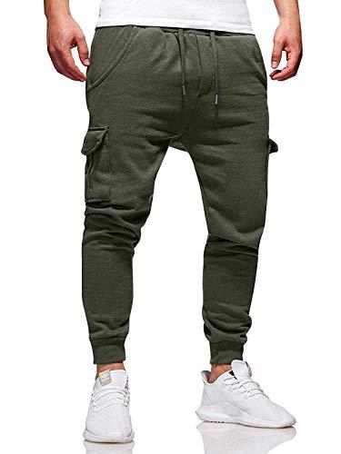 DOSN Pantalones largos de chándal para hombre, pantalones de chándal para verano, tiempo libre. 04 verde ejército XXL