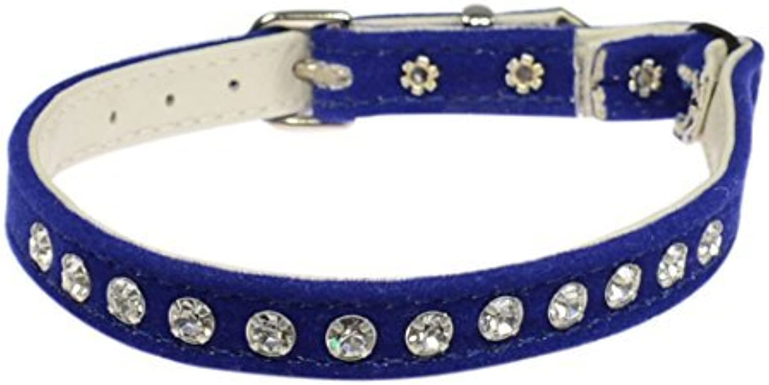 Evans Collars Jeweled Cat Safety Collar with Elastic, Size 10, Velvet, bluee by Evans Collars