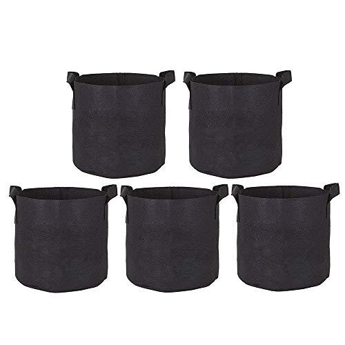 Zilong Confezione da 5Grow bag da 11,5 l, vasi in tessuto non tessuto traspirante per patate pomodori fragole frutta verdura piante, borse con maniglie