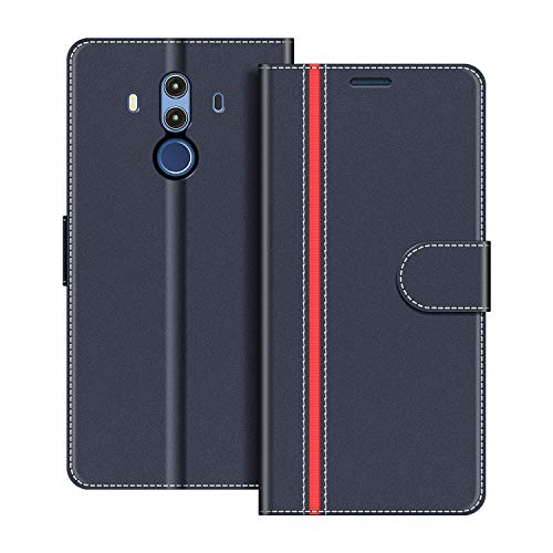 COODIO Handyhülle für Huawei Mate 10 Pro Handy Hülle, Huawei Mate10 Pro Hülle Leder Handytasche für Huawei Mate 10 Pro Klapphülle Tasche, Dunkel Blau/Rot