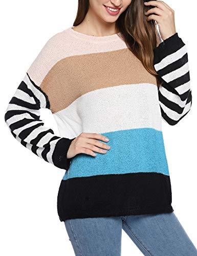 Hawiton Jersey de Mujer, Cuello Redondo, Suéter de Punto para Mujer, 100% poliéster, Camisetas de Manga Larga Mujer Adecuado para otoño e Invierno