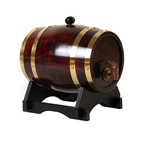 LucaSng Barril de Roble, Barril de Madera de Roble para Almacenamiento y Envejecimiento de Vino y Bebidas, con Soporte, Barril de Vino de Madera de Roble Vintage (Vino Tinto de la Vendimia, 5L)