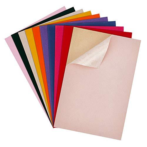 BENECREAT 20 PCS Hojas Adhesivas de Terciopelo de Colores Mezclados 29.5x20cm, Tela de Forro de Caja de Joyería con Caja de Plástico, Duradera y Resistente al Agua para Manualidades