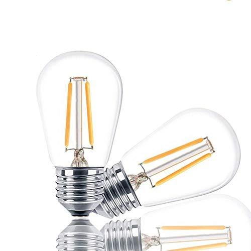 Svater 2 Pezzi S14 Lampadina Led E27 a Filamento 2W Bianco Caldo 2700K 150lm Equivalenti a 20W 360 Gradi Non Dimmable Vintage Edison Lampadine Sostitutive per Catena Luminosa Lampadina