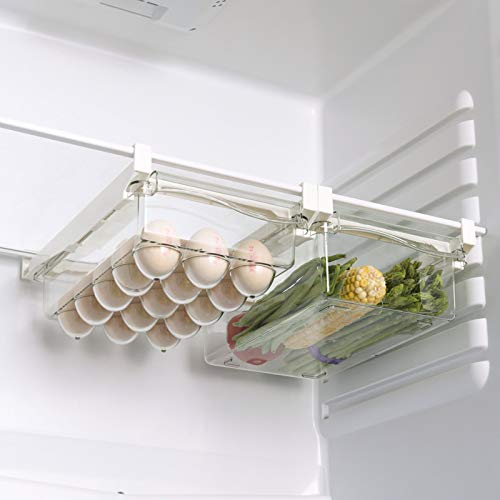 XKMY Cajones para refrigerador, contenedores de plástico para almacenamiento, cajón, caja de plástico, organizador de huevos y nevera, cajón transparente ajustable (color: estilo 3, 2 cajas)
