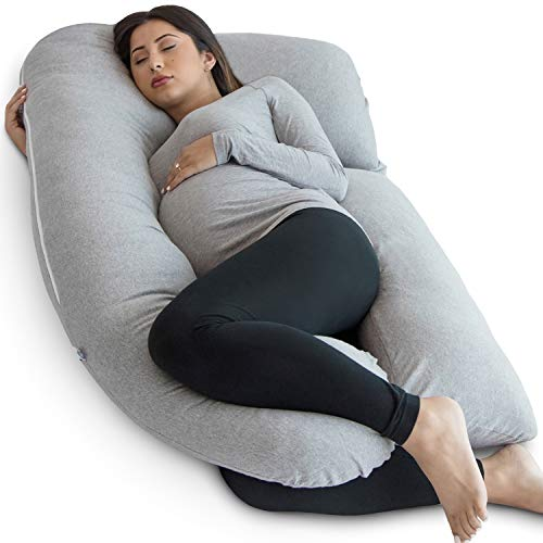 PharMeDoc Pregnancy Pillow, Grey U-Shape Full Body Pillow and Maternity Support - Support for Back, Hips, Legs, Belly for Pregnant Women