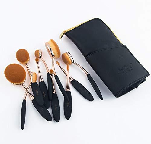 Pinceaux de maquillage professionnels, ensemble de 10 pinceaux de maquillage synthétiques de première qualité pour fard à paupières Foundation Blush Concealer avec pochette de voyage-A
