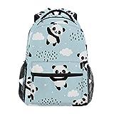 Qilmy Panda Backpack for Girls Student School Bookbag Laptop Computer Travel Daypack, Sky Blue
