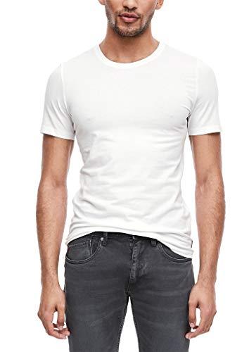 s.Oliver Herren Unterhemd 26.899.32.2228, 2er Pack, Weiß (White 0100), Large