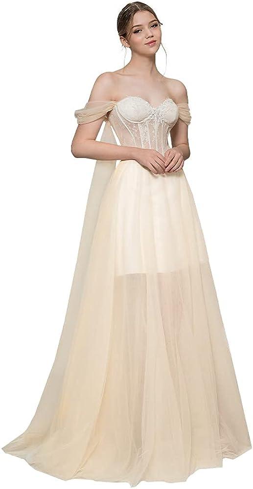 different me Women's Lace Low Cut Bridal Dresses A Line Wedding Gown