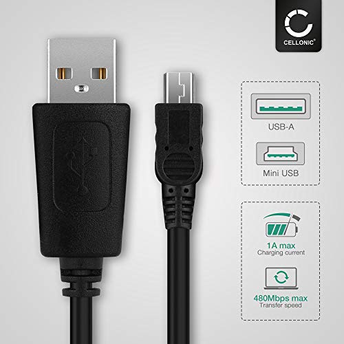 CELLONIC® USB Kabel 1m kompatibel mit GAOMON M106K / Franklin EST-4016 Ladekabel Mini USB auf USB A 2.0 Datenkabel1Aschwarz PVC