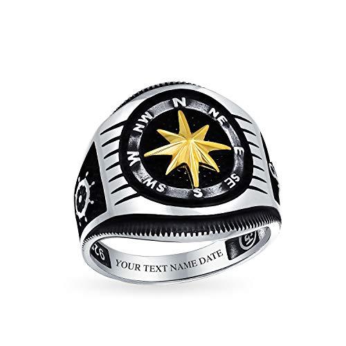 Hombres náutica rueda barco rosa vikingo brújula Signet anillo para hombres negro 14K oro plateado 925 plata a mano en Turquía