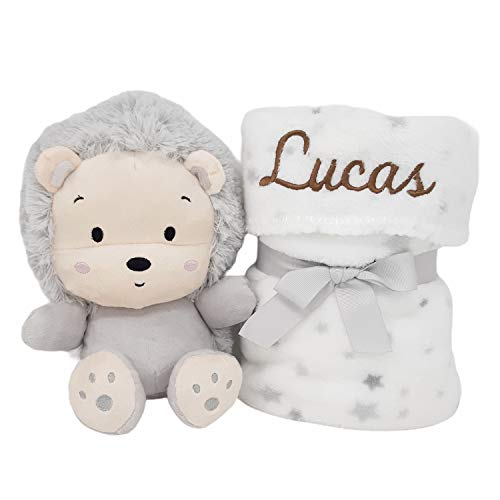 My Lion, Set de Manta Personalizada para Bebé y Peluche | Regalos Para Recién Nacidos de Mababyshop (Gris)