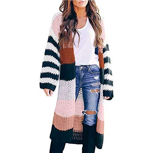 Damen Kontrastfarben Gestreift Strickjacke,BBring Farbblock Lange Stricken Jacke Volle Länge Parka Tasche Mantel Langarm Warm Herbst Sweatshirt Winter Bluse (M, Rosa)