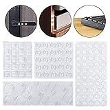 Lagrimas Silicona,107 Piezas Pies de Goma Transparentes Silicona Adhesivas Topes Adhesivos de Ruido Anti Arañazos para Armarios Puertas Cajones 4 Tamaños