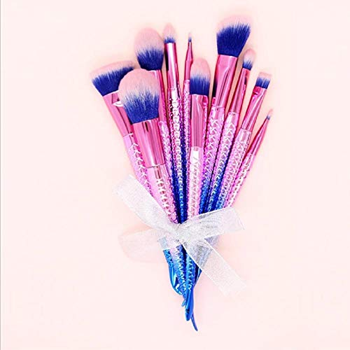 Fanxp® 10 pièces outils de beauté explosifs sirène 10 pinceau de maquillage ensemble fibre cheveux Fondation fard à paupières pinceau-rose