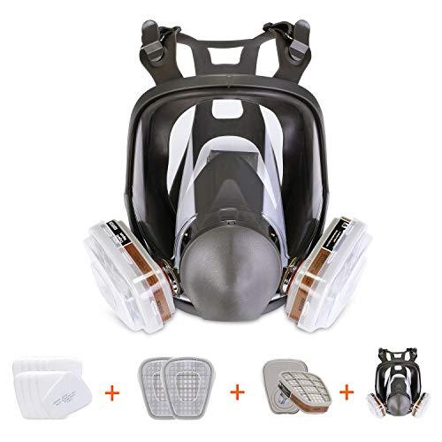 HOLULO 15 en 1 Facial Máscara de Seguridad para Pintura,Protección Respirador Facial de Vapor Orgánico, Certificación CE