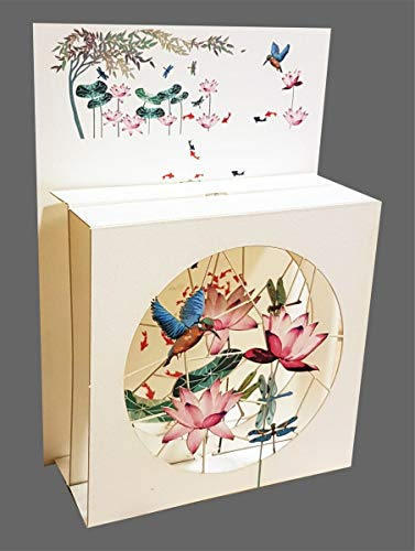 3D Multi-layered Magic Box Card - KIngfisher and Water Lilies