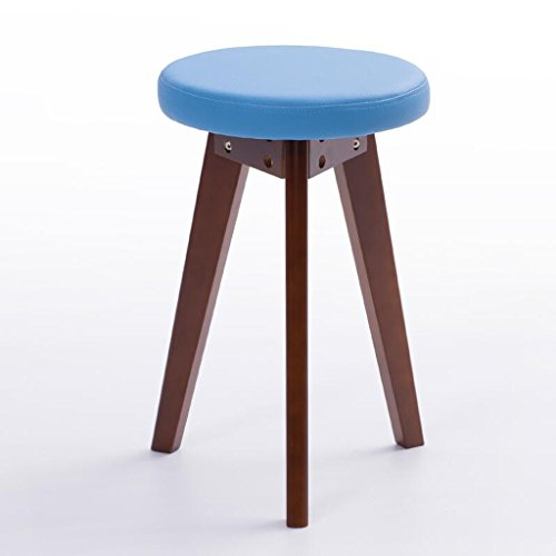 Rollsnownow Idées de mode de petit banc de coussin bleu Tabouret de dressage de maison de tabouret rond (Color : Brown wooden frame)