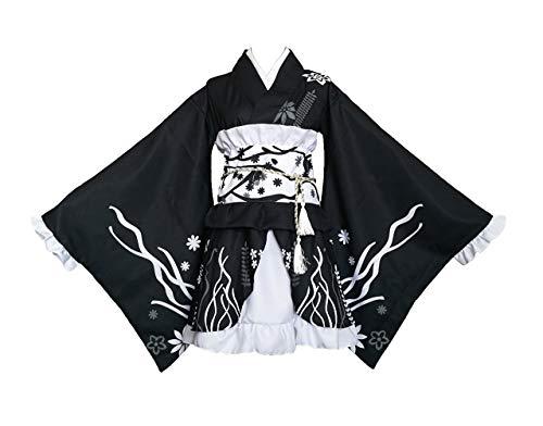 Dubbele Dorpen Japanse Stijl Zomer Leuke Meisjes Anime Yukata Kimono Kostuum Cosplay Set Kimono Badjas Jurk (Blauw & Wit)