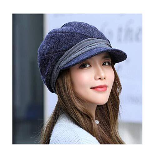 QJBH Cappello Studentessa Cappello delle Lane Bike Warm più Velluto Inverno Spesso Cappello di Lana di Colore Solido Cappellino Invernale Caldo Cappello di Lana Nero Grigio (Color : Blue)