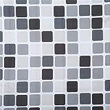 Mvude Karo Duschvorhang Bad Stoff Duschvorhang Wasserdicht Schimmelfest Monochrom Stil Vintage Badezimmer Decor, 180 * 200cm