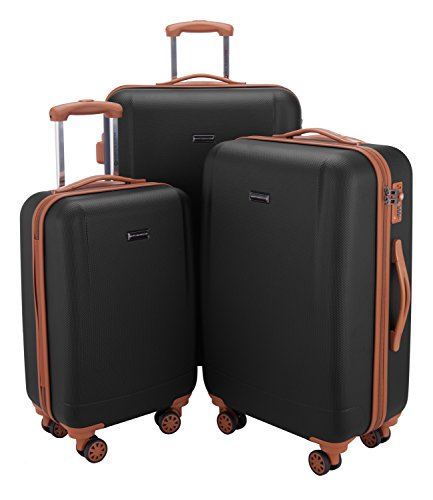 HAUPTSTADTKOFFER - Wannsee - Set of 3 Hard-side Luggages Trolley Hardside Suitcase 4 Wheel Spinner, TSA Lock, (S/M/L), Black